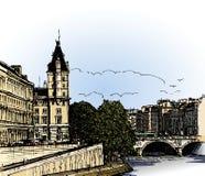 Vue panoramique de passerelle de Pont Neuf de SEINE de fleuve Photographie stock libre de droits