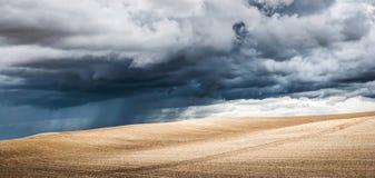 Vue panoramique de paysage d'été avec les nuages noirs dramatiques à l'arrière-plan Image libre de droits