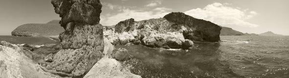 Vue panoramique de paysage marin méditerranéen à Almeria l'espagne Images libres de droits