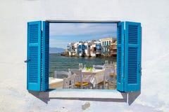Vue panoramique de peu de Venise sur l'île de Mykonos Photos stock