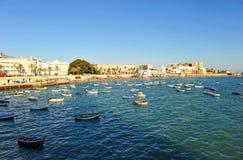 Vue panoramique de plage de Caleta de La, Costa de la Luz, Cadix, Andalousie, Espagne Photos libres de droits