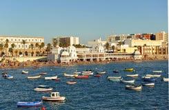 Vue panoramique de plage de Caleta de La, Costa de la Luz, Cadix, Andalousie, Espagne Images stock