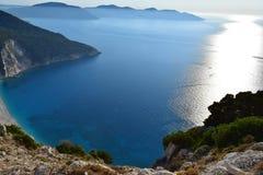 Vue panoramique de plage de Myrthos Photographie stock libre de droits