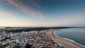 Vue panoramique de plage de Nazare Image stock