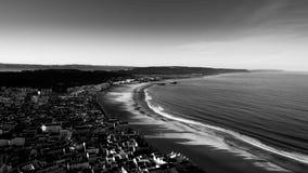 Vue panoramique de plage de Nazare Image libre de droits
