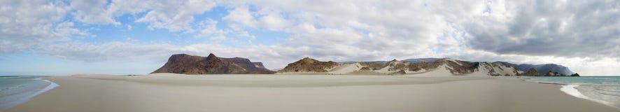Vue panoramique de plage de Qalansia, île d'île de Socotra, Yémen Photos libres de droits