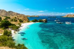 Vue panoramique de plage rose, parc de nation de Komodo images stock