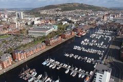 Vue panoramique de port de Swansea - Swansea, Pays de Galles, R-U photos stock