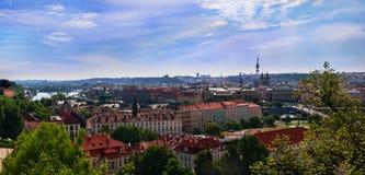 Vue panoramique de Prague du château de Prague, République Tchèque Photo stock