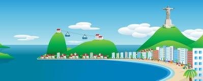 Vue panoramique de Rio de Janeiro Image de vecteur illustration de vecteur