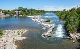 Vue panoramique de rivière d'Ardeche image libre de droits