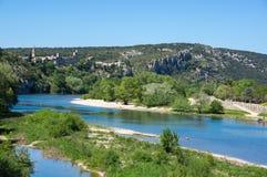 Vue panoramique de rivière d'Ardeche image stock