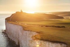 Vue panoramique de sept falaises de soeurs au coucher du soleil Images stock