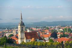 Vue panoramique de Slovenska Bistrica, Slovénie Photo stock