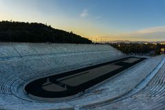 Vue panoramique de stade Kalimarmaro de Panathenaic en Grèce image stock