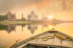 Vue panoramique de Taj Mahal au coucher du soleil photographie stock libre de droits