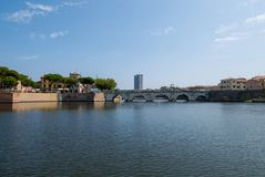 Vue panoramique de Tiberius Bridge Tiberius Bridge à Rimini image libre de droits