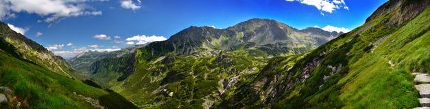 Vue panoramique de vallée de cinq lacs en montagne de Tatra Image stock