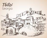 Vue panoramique de vieux Tbilisi, la Géorgie illustration libre de droits