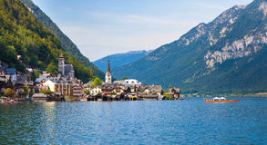 Vue panoramique de village de Hallstatt Image stock