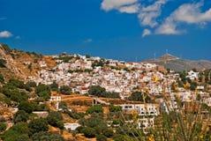 Vue panoramique de village traditionnel sur l'île de Naxos photo stock