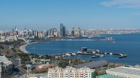 Vue panoramique de ville de Bakou, Azerbaïdjan photos libres de droits