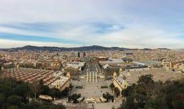 Vue panoramique de ville du ` Art de Catalunya de Museu Nacional d photos libres de droits