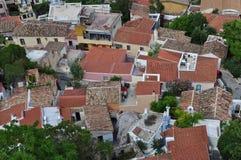 Vue panoramique de voisinage d'anafiotika Image libre de droits