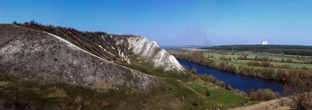 Vue panoramique des collines de craie sur les banques de Don River Image libre de droits