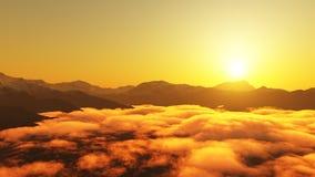 Vue panoramique des crêtes de montagnes avec la neige sur le dessus, de la colline avec des nuages et de la brume, pendant le cou photographie stock