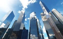 Vue panoramique des gratte-ciel Images stock
