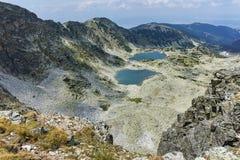 Vue panoramique des lacs Musalenski de crête de Musala, montagne de Rila Photos stock