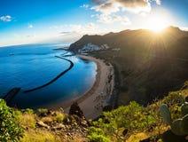 Vue panoramique des las Teresitas Ténérife de plage Photographie stock libre de droits