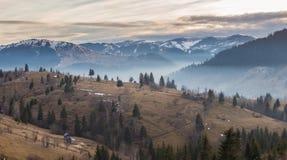 Vue panoramique des montagnes de Bucovina photos libres de droits