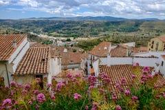 Vue panoramique des murs de Morella Photo libre de droits