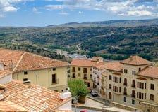 Vue panoramique des murs de Morella Photographie stock libre de droits