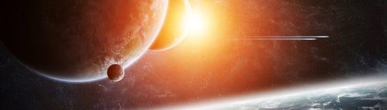 Vue panoramique des planètes dans le système solaire éloigné 3D rendant e Photos libres de droits