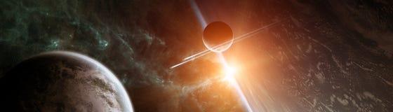 Vue panoramique des planètes dans le système solaire éloigné 3D rendant e Photo stock