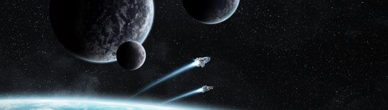 Vue panoramique des planètes dans le système solaire éloigné 3D rendant e Photos stock
