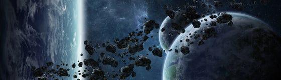 Vue panoramique des planètes dans le système solaire éloigné 3D rendant e Image libre de droits