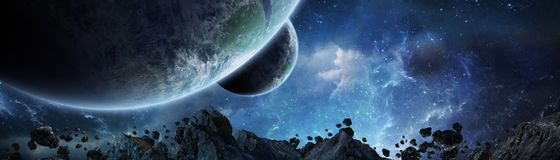 Vue panoramique des planètes dans le système solaire éloigné 3D rendant e Photographie stock libre de droits