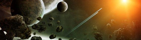 Vue panoramique des planètes dans le système solaire éloigné 3D rendant e Images libres de droits
