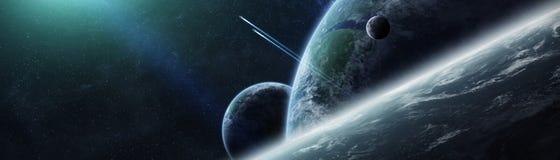 Vue panoramique des planètes dans le système solaire éloigné 3D rendant e illustration stock