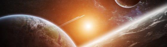 Vue panoramique des planètes dans le système solaire éloigné 3D rendant e illustration de vecteur