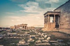 Vue panoramique des ruines sur l'Acropole d'Athènes, Grèce images stock