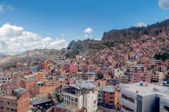 Vue panoramique des taudis de La Paz, Bolivie photo stock