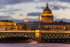 Vue panoramique du centre historique du St Petersbourg Images libres de droits