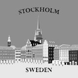 Vue panoramique du Gamla Stan Stockholm, Suède illustration stock