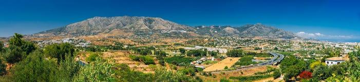 Vue panoramique du paysage urbain de Mijas à Malaga Photographie stock libre de droits