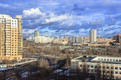 Vue panoramique du secteur municipal Prospekt Vernadskogo, Moscou Photographie stock libre de droits